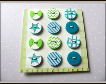 Card of 12 buttons with prints Green 15mm
