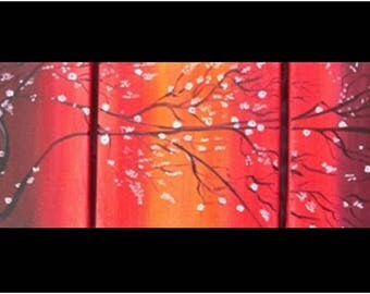Painting oil on canvas tree Asian