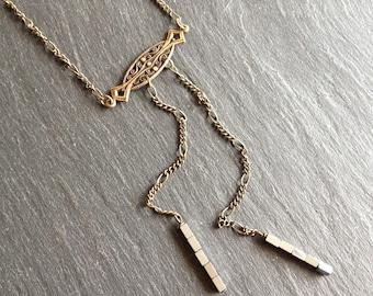 retro necklace silver hematite