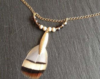 ethnic chic natural feather and smoky quartz necklace