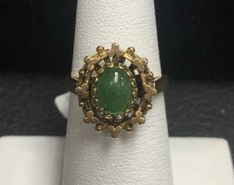 Oval Jade 14K Ring