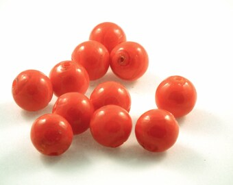 ♥X2 round glass bead ORANGE 12mm♥
