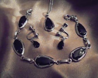 Vintage Sarah Coventry Sterling Silver and Onyx Jewelry Set
