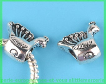 Pearl European N19 bird spacer for bracelet charms