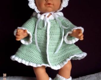 All wool dress, bonnet booties newborn