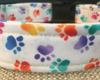 Dog Collar/Rainbow Paw Prints/Adjustable Dog Collar/Fabric Dog Collar