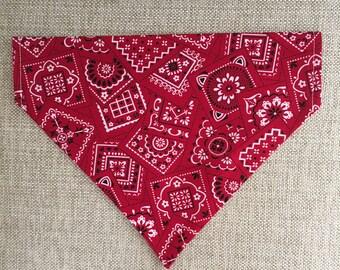 Red Bandana Print/Bandana/Over the Collar Bandana