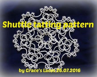 Doily Tatting Pattern, PDF Tatting Pattern, Instatnt Download Tatting Pattern, Round Doily Tatting Pattern, Small Doily Tatting Pattern