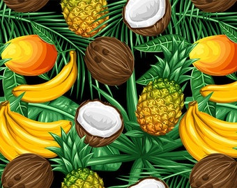 SEMI-rigid PLACEMAT, ORIGINAL design, WASHABLE and durable - Exotic Fruits - bananas, mangoes, pineapple and coconut.