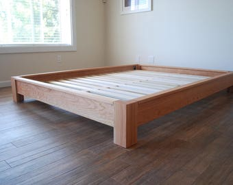 lowprofile platform bed simple bed frame solid hardwood bed twin - Solid Wood Platform Bed