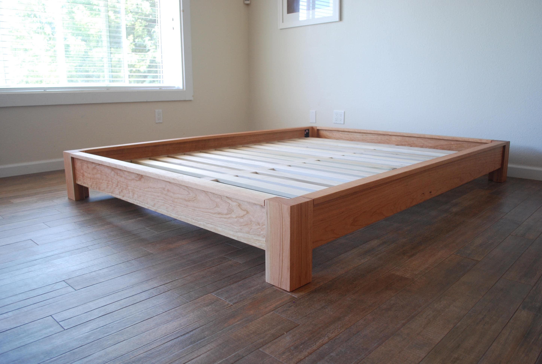Low Profile Platform Bed Simple Bed Frame Solid Hardwood