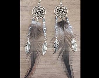 Gray and white DreamCatcher earrings