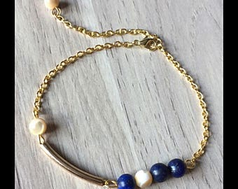 Beaded bracelet lapis lazuli and pearl beads-