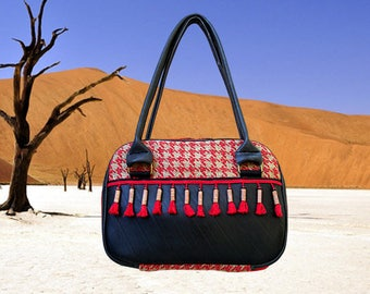 Ethnic purse in inner tube recycled and Red houndstooth upholstery fabric