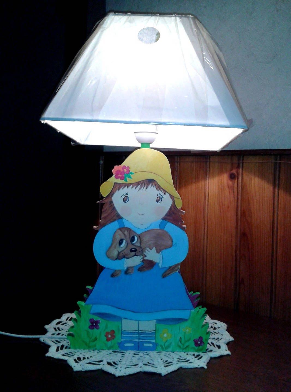 lampe pour chambre d 39 enfant en bois motif petite fille. Black Bedroom Furniture Sets. Home Design Ideas