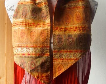 Scarf color orange patterned cashmere and pleated ruffle