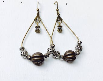 Bronze beads and dangling earrings