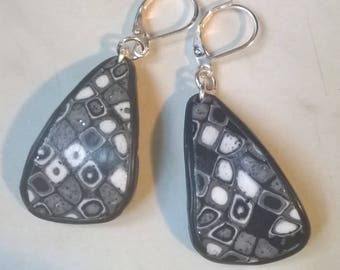 Earrings mosaic polymer clay, shades of black