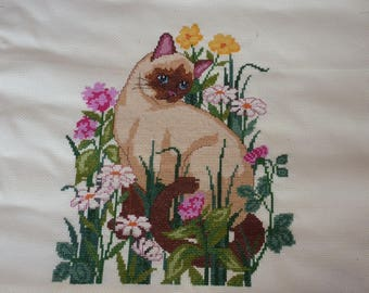 Siamese and flowers on beige Aida canvas