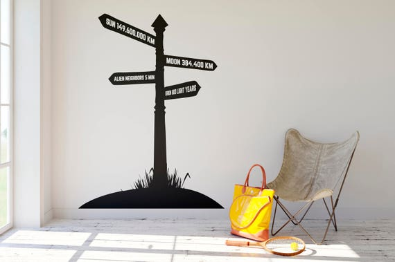 Direction Sign wall decal with customization possibility on the lettering, Silhouette, Wall Sticker, Home decor, Directions, Funny