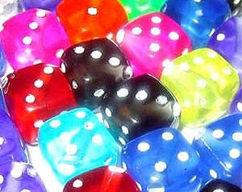 20g 7mm Acrylic Mixed Colour Dice Beads - A5340