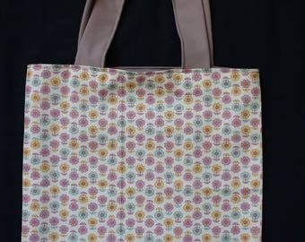 Bag fabric Vintage flowers pink yellow blue