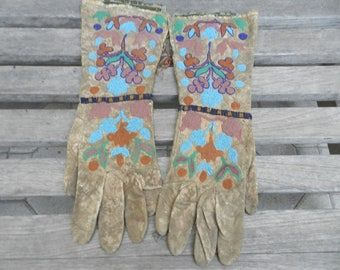 Antique c.1880's Native American Shoshone Beaded Gauntlets