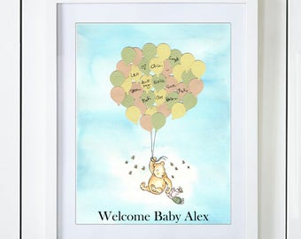 Classic Winnie The Pooh & Piglet Baby Shower Guest Book Alternative with Gender Neutral Green Yellow Peach Balloons in the Clouds