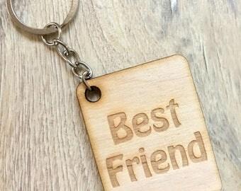 Wooden Keychain Best Friend Keyring Gift Scrapbooking Embellishment Rustik