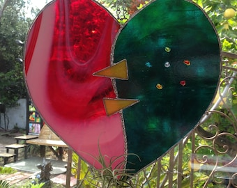 Homemade Original Stained Glass Heart Air Plant Holder