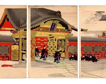 Zojoji temple (Toyohara Chikanobu) N.1 triptych of ukiyo-e woodblock prints