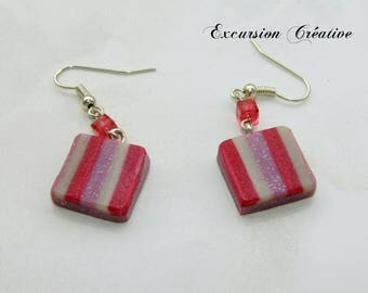 Striped pink earrings polymer clay entirely by hand