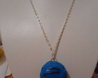 """macaroon"" blue polymer clay pendant necklace"