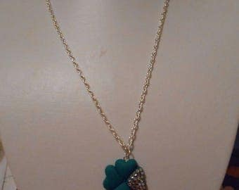 """Necklace with polymer clay pendant """"clover has 4 leaves"""""""
