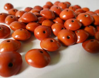 Lot 10 Pau Brasil red seed beads