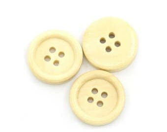 Set of 20 buttons 18 mm wooden
