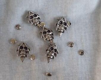 Set of 5 skull rivet silver 20 x 30 mm