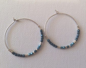 925 sterling silver hoops and glass beads