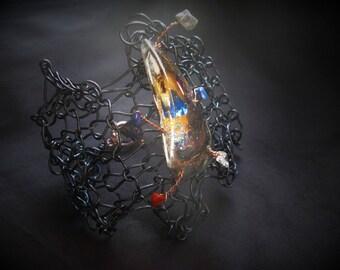 Black resin and metal Cuff Bracelet