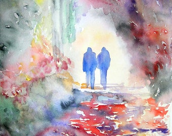 Original watercolor. Forest. Walk in the slot wood watercolor on paper
