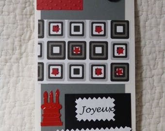 Birthday - red and gray-reserved Kevin card