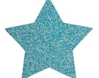 10 X 9.5 cm light blue glittery star fusible pattern