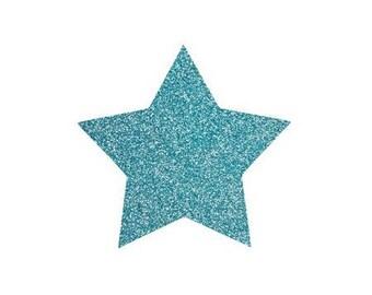 5 X 4.8 cm light blue glittery star fusible pattern