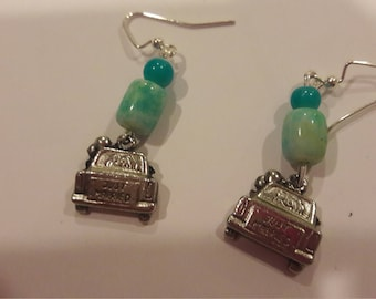 Just married charms with teal and turquoise beaded earrings