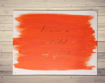 I am a Child of God - coral/gold