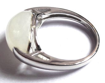 Rainbow Moonstone Ring, Silver Ring, 92.5 Solid Sterling silver ring, Natural Rainbow Moonstone Silver Ring, 92.5% sterling silver