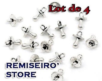 Set of 4 13 mm silver pacifier charms