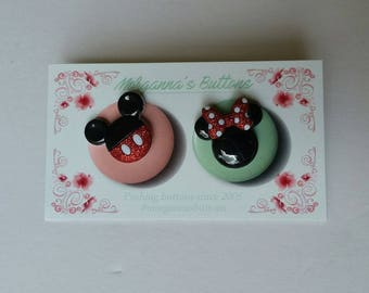 Mickey and Minnie Button Earrings