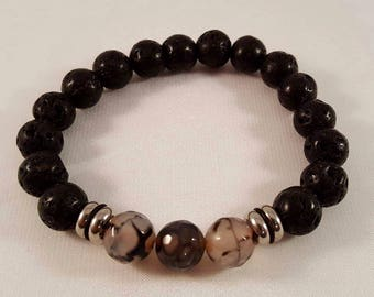 Gemstone bracelet for him made of lava, snake agate and stainless steel
