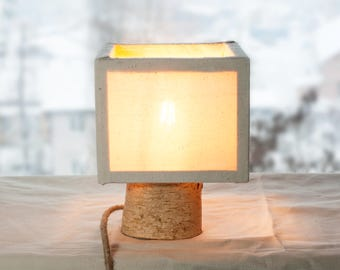 Wood lamp shade, Birch Wooden Lamp, Table lamp shade, Led wood lamp, Wooden Lamp, Desk Lamp, Cotton shade lamp, Rustic Lamp, Retro Wood Lamp